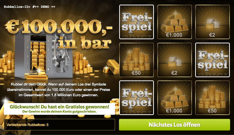 100.000 €,- in bar Rubbellos