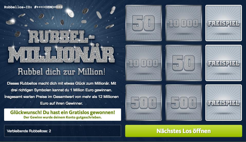 Rubbel-Millionär Rubbellos