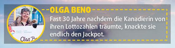 Die Kanadierin Olga Beno knackt den Jackpot mit geträumten Lottozahlen