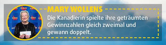 Die Kanadierin Mary Wollens gewinnt mit geträumten Zahlen zweimal im Lotto